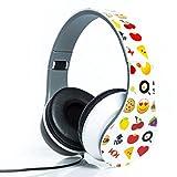 Smiley Print Over the Ear Foldable Headphone (WHITE)