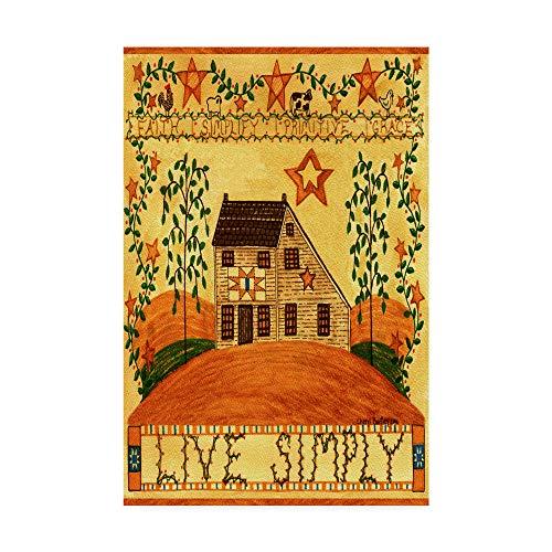 Garden Folk Art - Trademark Fine Art Live Simply Folk Art Garden Flag by Cheryl Bartley, 22x32-Inch Fine, Multicolor