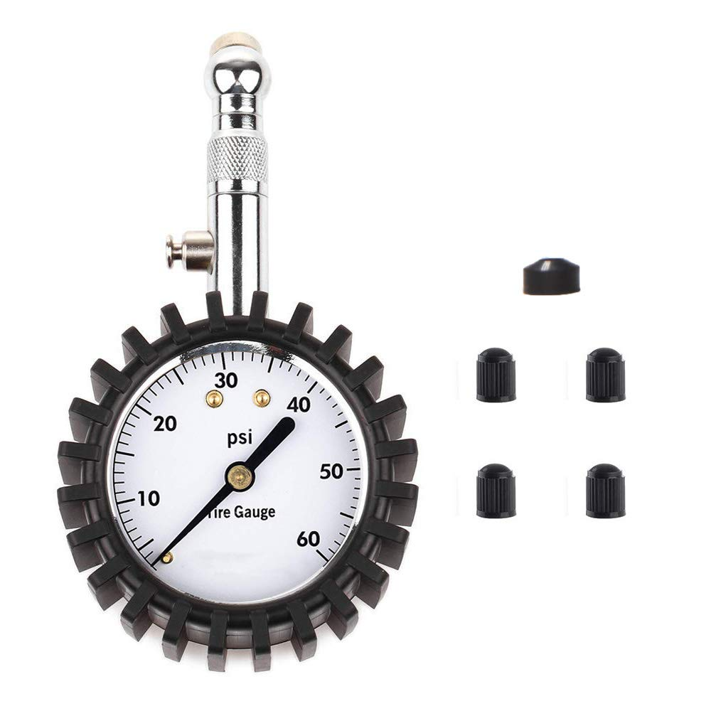 KEDAKEJI K060PG Tire Pressure Gauge 60PSI Mechanical Tire Gauge with Heavy Duty Case and Rubber Housing for All Vehicles Black