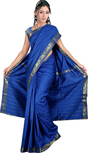 Indian Women's Traditional Art Silk Saree Sari Drape Top Veil Fabric (Blue Silk Sari Saree)