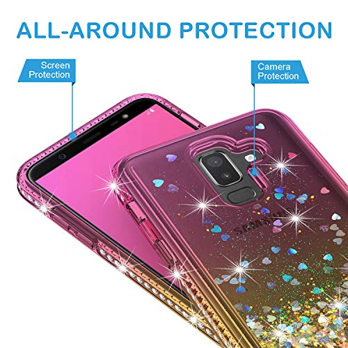 Samsung Galaxy J8 2018 Case with Tempered Glass Screen Protector, Rosebono Quicksand Glitter Sparkly - http://coolthings.us