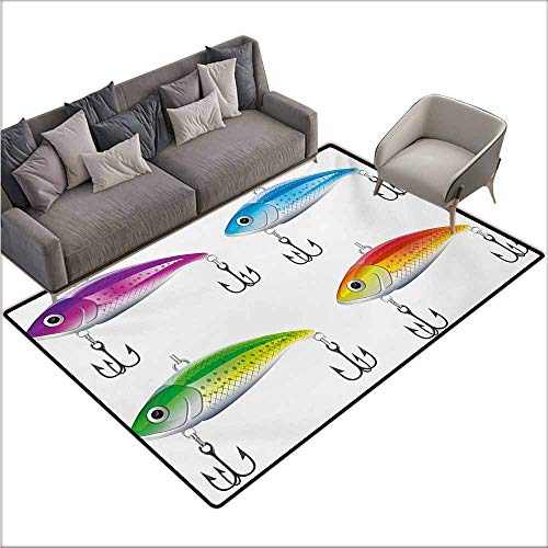 Floor Rug Pattern Fishing Collection of Fishing Lures in Trout Shape Trap for Sea Mammals Creatures Picture Personality W78 xL118 Multicolor (Best Trout Fishing In France)