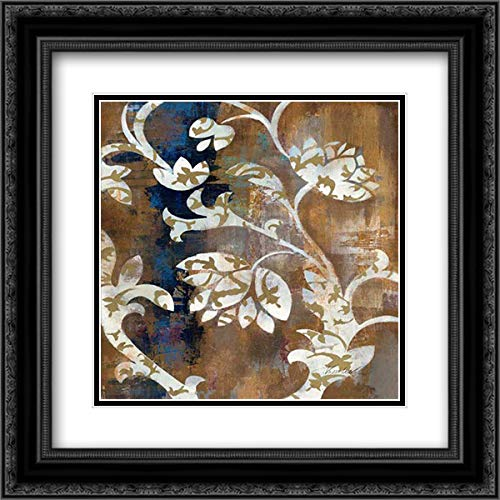 (Moonlight Magnolia Silhouette II 28x28 Black Ornate Frame and Double Matted Art Print by Vassileva,)