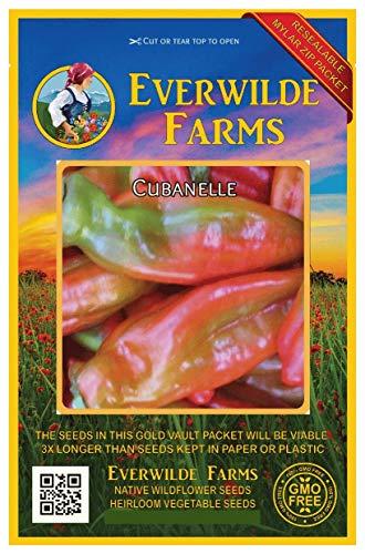 Pepper Cubanelle - Everwilde Farms - 50 Cubanelle Sweet Pepper Seeds - Gold Vault Jumbo Seed Packet