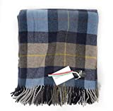 Fiori Di Firenze Classic Wool Throw Blanket Tartan Railroad Plaid Pattern Oversized Couch Throw Blanket Fringe Trim Afghan Type Grey Ivory Made in Italy (Blue Taupe)
