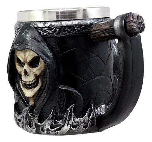 Ebros Gift Death Grim Reaper Coffee Mug With Scythe Handle Day Of The Dead Skeleton Reaper Skull Beer Stein Tankard…