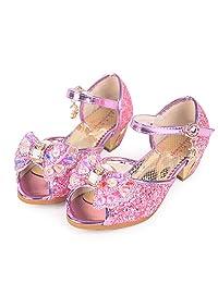 Shiny Toddler Little/Big Kid Cinderella Princess High-Heel Crystal Dress-Up Party Shoes