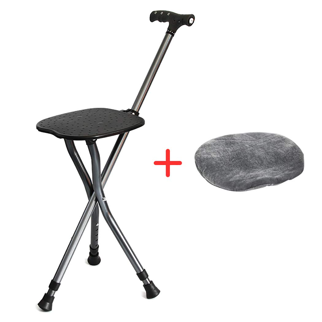 Astonishing Amazon Com Zjfsx Folding Cane Seat With Led Light Stool Caraccident5 Cool Chair Designs And Ideas Caraccident5Info