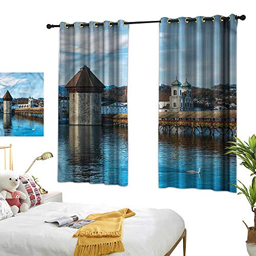 (Warm Family Landscape Light Luxury high-end Curtains European Town Bridge Set of Two Panels 72