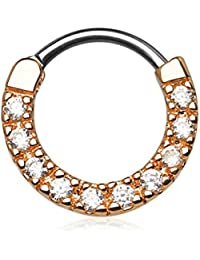16g 10mm Rounded Top Pave CZ Crystal Tiny Clicker Hoop for Septum and Cartilage Piercings