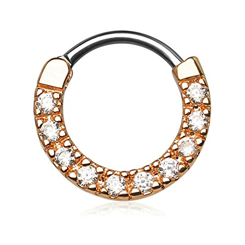 Jeweled Circular Barbell Ring - 16g 10mm Rose Gold Plated Rounded Top Pave Clear CZ Tiny Clicker Hoop for Septum & Cartilage Piercings