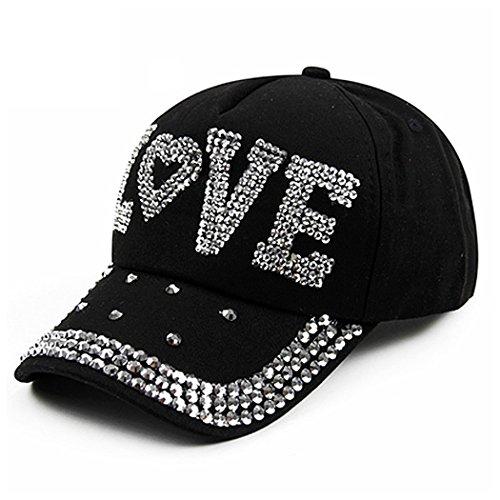 Raylans Fashion Women Bling Studded Rhinestone Crystal Love Lips Baseball Caps Hats (Black)