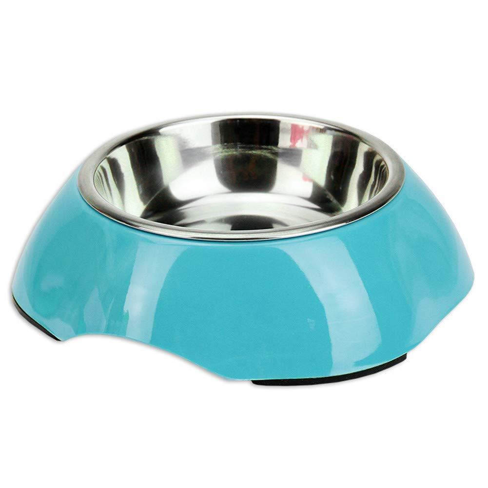 bluee WU-pet supplies Dog Bowl Dog Bowl cat Bowl Stainless Steel pet Bowl Single Bowl Dog Food Bowl Rice Bowl, bluee