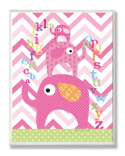 The Kids Room by Stupell Pink Stacked Elephants with The Alphabet Rectangle Wall Plaque