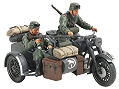 Wartime BMW-built motorcycle in Wehrmacht service. Side cars were paired with motorcycles by German forces in many areas of the WWII conflict and their excellent off-road ability combined with the bike's engine power made them a useful asset ...