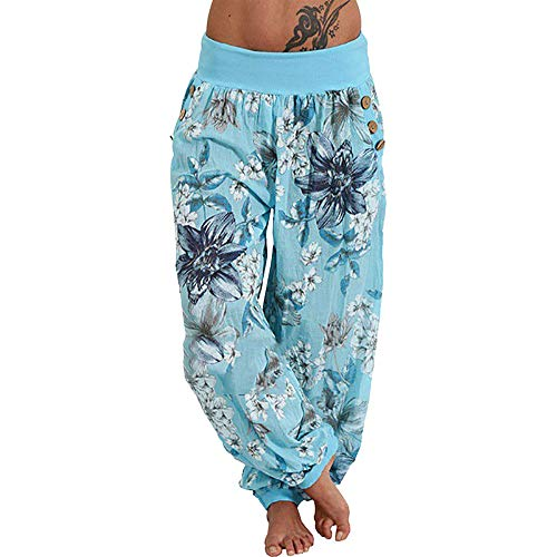 Aurorax Clearance Sale Wide Leg Lounge Pants Plus Size,Women Casual Loose Trousers Palazzo Yoga Pants (Sky Blue, S/Waist 24.2-28.3'')
