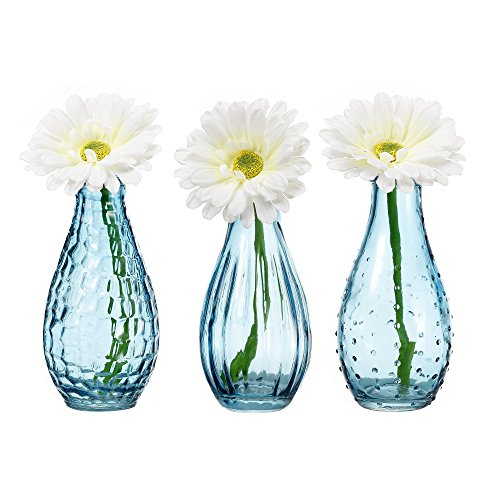 V-More Light Blue Glass Bottle Flower Bud Vase Bubble Rib Hobnail 5.6-inch Tall for Home Decor Party and Celebration (Set of 3) (Glass Hobnail Blue)