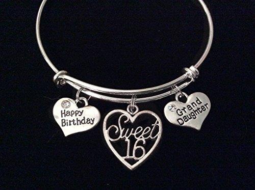 Granddaughter Happy Birthday Sweet 16 Expandable Charm Bracelet Adjustable Bangle Teenager Teen Gift Sixteen Grand Daughter