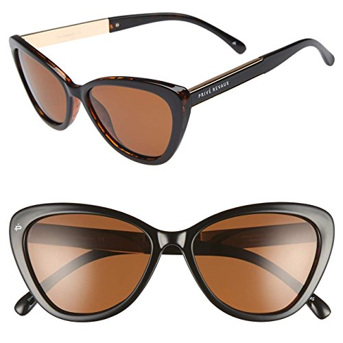 "PRIVÉ REVAUX ICON Collection ""The Hepburn"" Handcrafted Designer Polarized Retro Cat-Eye Sunglasses (Brown Tortoise)"