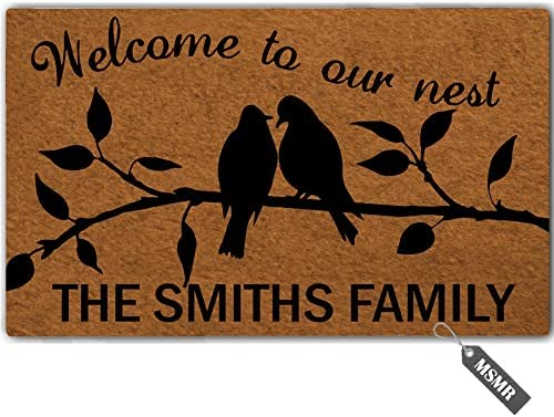 MsMr Personalized Your Name Door Mat Welcome to Our Nest Door Mat Indoor Outdoor Decorative Doormat Custom Doormat Home Office Welcome Mat 30 x 18