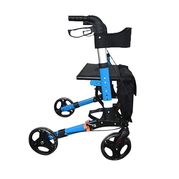 DWhui Andador Plegable Walker por-4 Ruedas Rolling Walker con Asiento y Bolsa-Ayuda de Movilidad para Adultos, Mayores, Ancianos & Handicap-Silla de ...