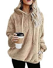 imrusan Womens Fuzzy Hoodies Pullover Sport Hoodie with Pockets Hooded Sweatshirt Athletic Fleece Hoodies, S-3XL