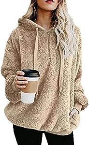 imrusan Womens Fuzzy Hoodies Pullover Sport Hoodie with Pockets Hooded Sweatshirt Athletic Fleece Hoodies, S-3