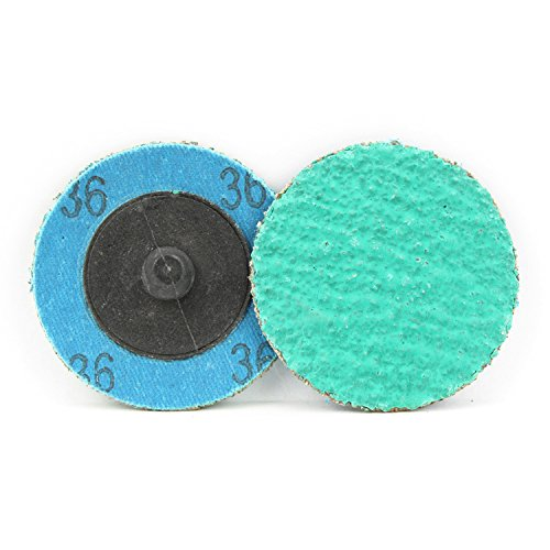 25 Pack - 2'' Green Zirconia with Grind Aid Quick Change Sanding Discs Type R Male - Roll On (36 Grit)…