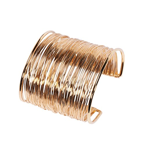 Hurricanes Alloy Metal Coil Thin Wire Open Cuff Wide Bracelet Bangle - Gold Color (Hurricane Coil)