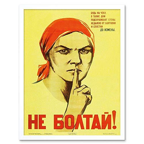Wee Blue Coo War Propaganda Ww2 Soviet Union Gossip Vintage Retro Advertising Art Print Framed Poster Wall Decor 12x16 inch