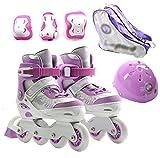 DSFGHE Children's Roller Skates Skates Adjustable Skates Flash Skates Skates For Boys And Girls,Purple-M