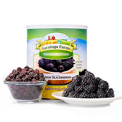 Saratoga Farms Freeze Dried Diced Marion Blackberries, #10 Can, 10oz (283g), 16 Total Servings, Real Fruit, Fruit Smoothies, Snack, Food Storage, Every Day Use - No Additives or Preservatives