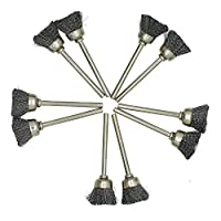 AUTOTOOLHOME 10pc Stainless Steel Bristle Shape Wire Cup Brush 1/8 shank Dremel Rotary Tools