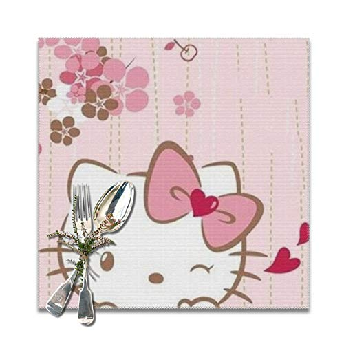 LIUYAN Placemats Smile Hello Kitty Heat Resistant Placemat for Kitchen Dining Table Set of 6