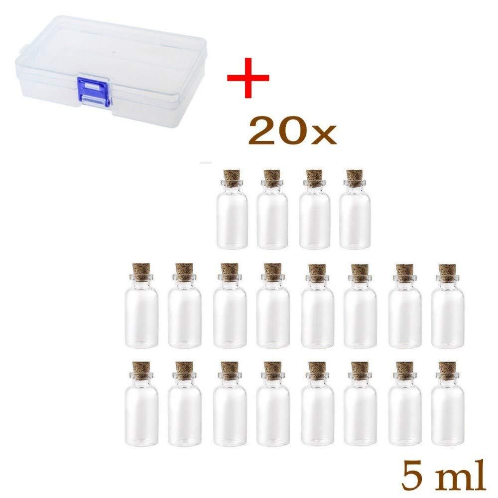 JZK/® 20 pcs 5 ml petite bouteille en verre avec li/ège mini bouteille en verre avec bouchon petit pot en verre avec bouchon en li/ège