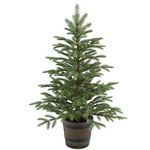 National Tree 4 Foot Feel Real Norwegian Spruce Entrance Tree in Whiskey Barrel Pot (PENG4-700-40P) -  ADULT