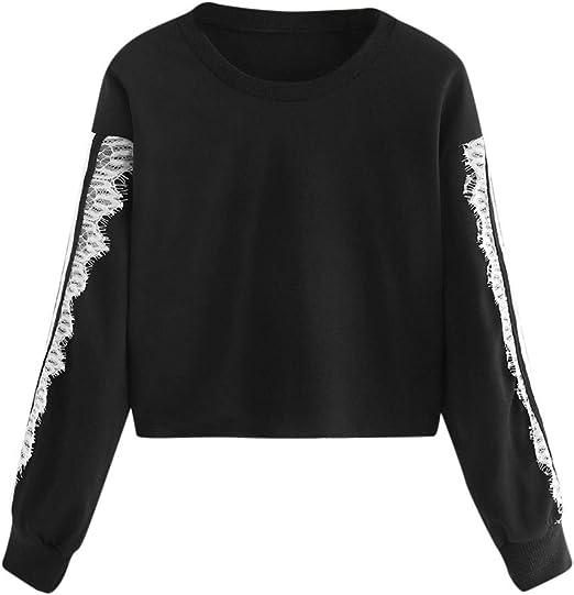 Kulywon Womens Shirts Womens Casual O-Neck Patchwork Long Sleeve Knit Top Blouse