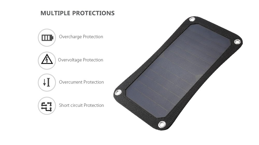 USB Solar Charger, Waterproof Foldable PowerPort Solar Solar Panel Power Emergency Bag Outdoor for iPhone iPad Cell Phone,Backpack (7W) by Smart for Life (Image #4)