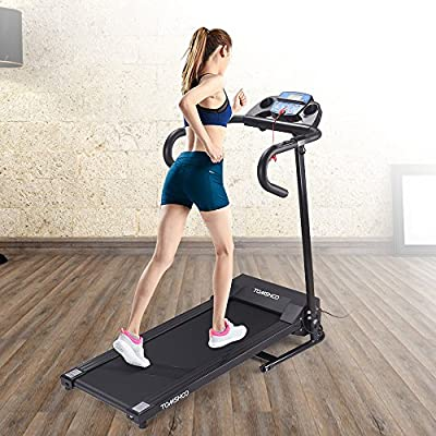 TOMSHOO 1100W Motorized Folding Electric Treadmill Fitness Machine Running Jogging Home Gym Machine with Heart Rate Monitor Mobile Phone Tablet Holder
