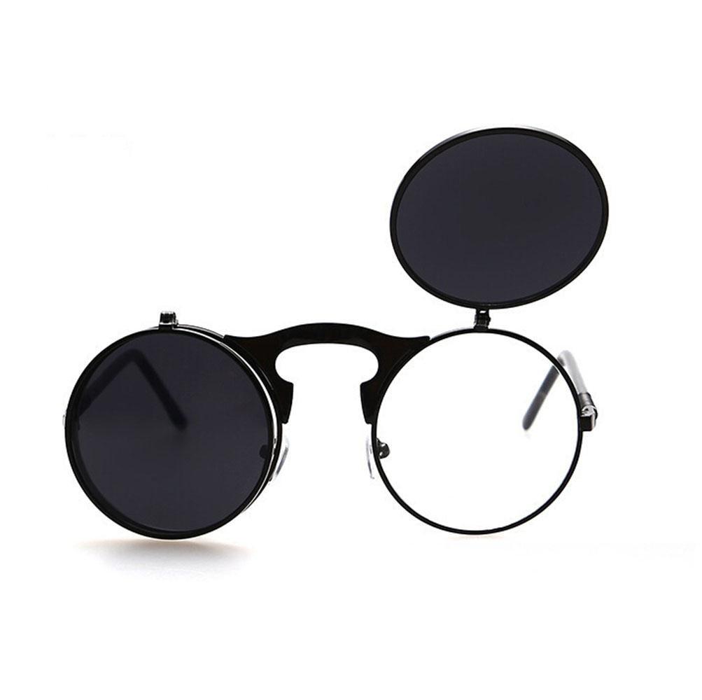 Z& YQ Lunettes de soleil ronde rétro clapet double clip métal cadre lunettes black Z&YQ Sports
