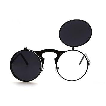 Steampunk Rétro Cercle à rabat en Lunettes de soleil Vintage Double housse à clapet Lunettes de lunettes de natation noir Noir taille unique 9mDXpp6B