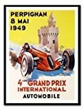Iposters Perpignan Grand Prix 1949 Motor Racing Print Magnetic Memo Board Black Framed - 41 X 31 Cms (approx 16 X 12 Inches)