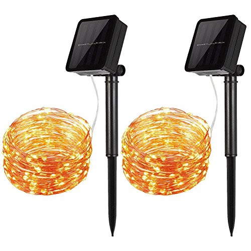 [2-Pack] Solar Powered 100 LEDs String Light, Starry String Lights, Copper Wire Lights Ambiance Lighting for Outdoor Indoor Gardens Dancing Christmas (Party Stuff Online)