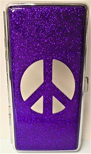 1 Eclipse Peace Sign Purple Glitter Cigarette Case with Mirror, Fits 120's Cigarettes, Can Hold 14 Cigarettes
