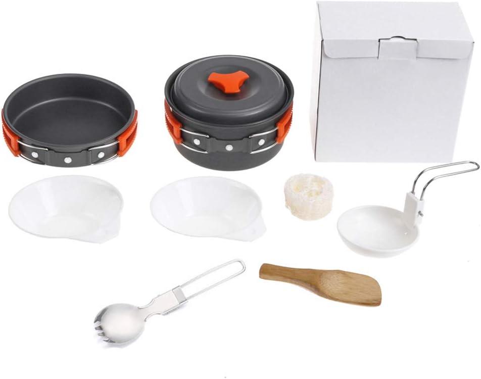 DADD Kit de Utensilios de Cocina para Camping Ligero y portátil, sartenes y ollas de Aluminio antiadherentes para Camping, para 2-3 Personas Camping al Aire Libre Senderismo Mochilero Picnic-Orange