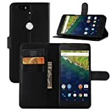 Nexus 6P Case, Premium Leather Wallet Case Cover with Stand Card Holder for Huawei Google Nexus 6P / 6 2nd Gen 2015 Phone (Wallet - Black)