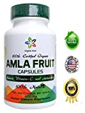 Certified Organic AMLA Capsules. 400 mg - 100 Veg Capsules. Natural Vitamin C and Antioxidants. Raw whole Superfood. 100% All Natural, Fresh and Original. No GMO and Gluten Free.