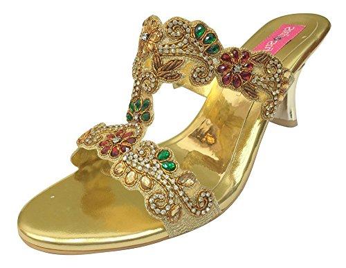 Step n Style - Sandalias de vestir de Material Sintético para mujer multicolor dorado