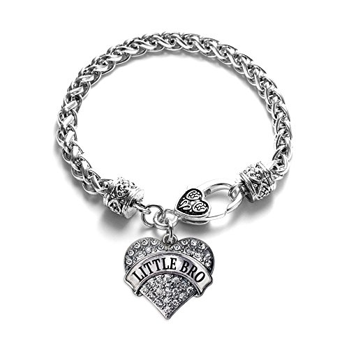 Inspired Silver - Little Bro Braided Bracelet for Women - Silver Pave Heart Charm Bracelet with Cubic Zirconia Jewelry