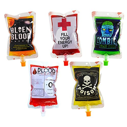 HomMall 10 Packs Reusable Blood Bag Pack Drink Container for Halloween Zombie Party Favors]()